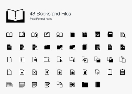 pixel perfect: 48 Books and Files Pixel Perfect Icons