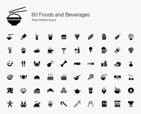 botanas: 60 Alimentos y Bebidas Pixel Perfect Icons