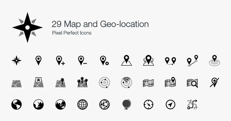 geolocation: 29 Map and Geo-location Pixel Perfect Icons