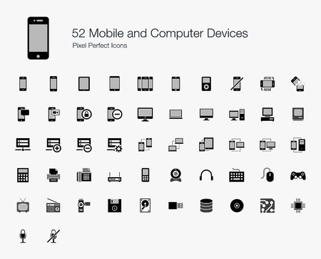 52 Mobile and Computer Devices Pixel Perfect Icons Vector