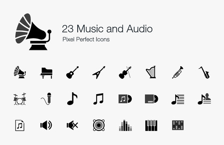 23 の音楽とオーディオのピクセルの完璧なアイコン  イラスト・ベクター素材