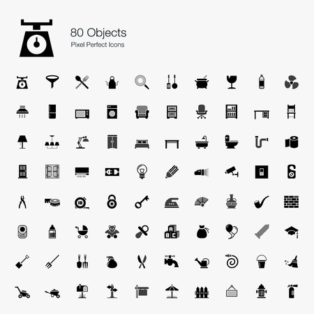 80 Objects Pixel Perfect Icons Vector