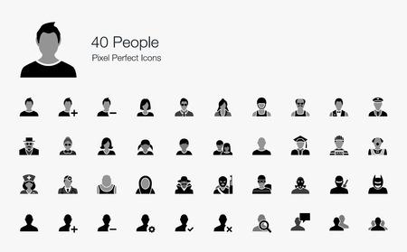 40 People Pixel Perfect Icons Stock Illustratie