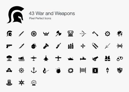 tanque de guerra: 43 Guerra y Armas Pixel Perfect Icons Vectores