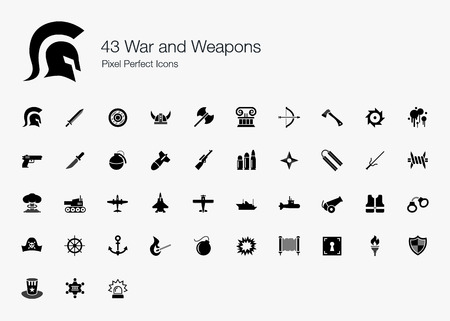 43 War and Weapons Pixel Perfect Icons Vector