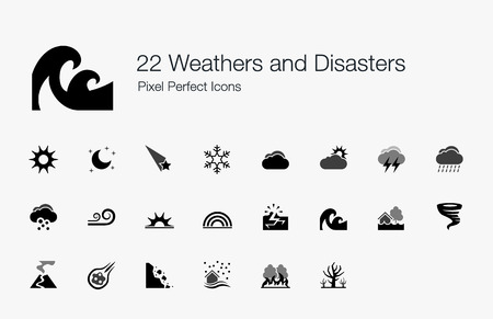 natural disaster: 22 Weathers and Disasters Pixel Perfect Icons