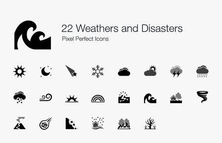 sol y luna: 22 Weathers y Desastres Pixel Perfect Icons Vectores