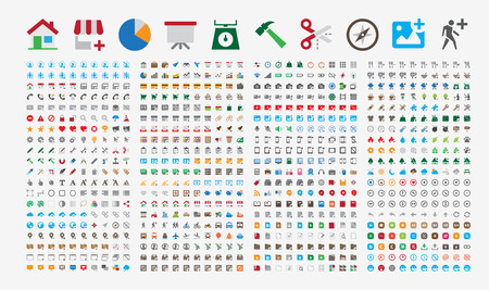 800 Premium Icons. Round corners. Flat colors. Pixel Perfect at 24x24px. Иллюстрация