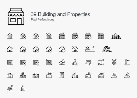 39 빌딩과 속성 픽셀 완벽한 아이콘 (선 스타일)