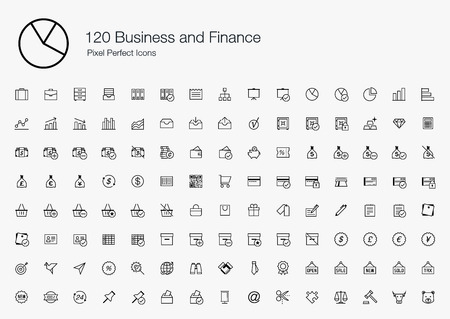 pixel perfect: 120 Business and Finance Pixel Perfect Icons (line style)