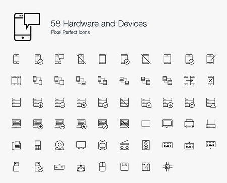 58 Hardware and Devices Pixel Perfect Icons (line style)