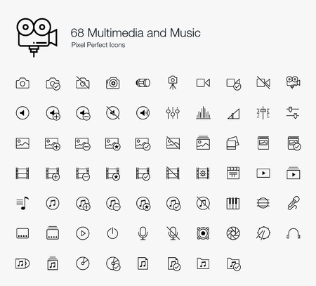 adjuster: 68 Multimedia and Music Pixel Perfect Icons (line style) Illustration