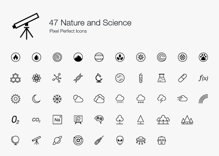flora fauna: 47 Nature and Science Pixel Perfect Icons (line style)