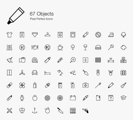 67 Objects Pixel Perfect Icons (line style) Vector