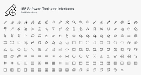 minus: 158 Software Tools and Interfaces Pixel Perfect Icons (line style) Illustration