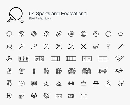 54 Sports and Recreational Pixel Perfect Icons (line style) Illustration