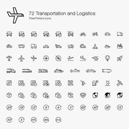 72 Transportations and Logistics Pixel Perfect Icons (line style) Vektorové ilustrace