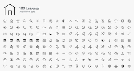universal love: 160 Universal Perfect Pixel Icons (estilo de línea) Vectores