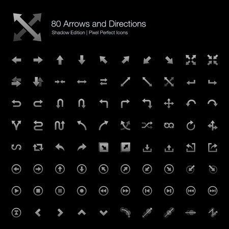 pixel perfect: Arrows and Directions Pixel Perfect Icons Shadow Edition
