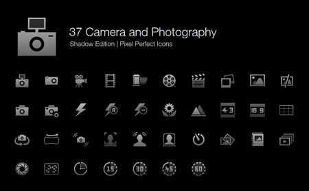 aperture grid: Camera and Photography Pixel Perfect Icons Shadow Edition