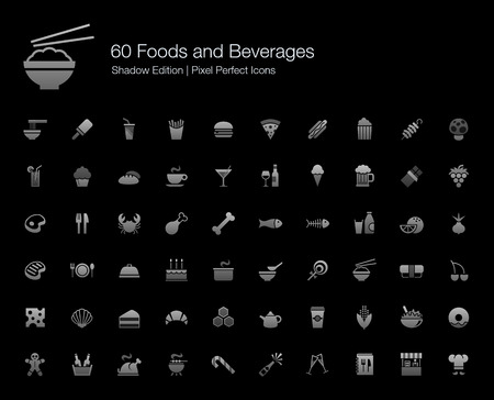western food: Foods and Beverages Pixel Perfect Icons Shadow Edition Illustration