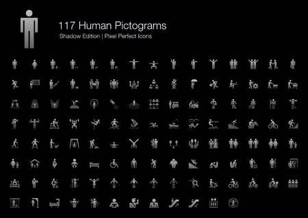 couple hiking: Human Pictogram Pixel Perfect Icons Shadow Edition Illustration