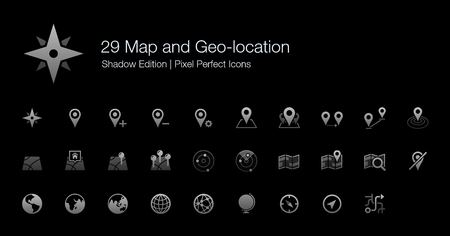 Map and Geo-location Pixel Perfect Icons Shadow Edition Çizim