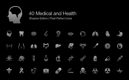 Medical and Health Human Organs and Body Parts Pixel Perfect Icons Shadow Edition Çizim