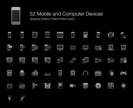 Mobile and Computer Devices Pixel Perfect Icons Shadow Edition