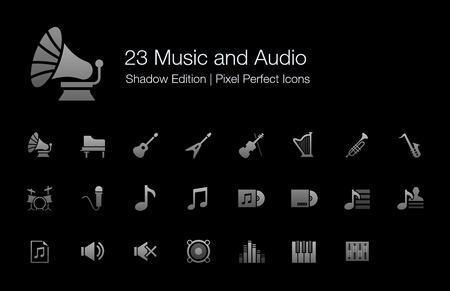 音楽とオーディオのピクセルの完璧なアイコン影版
