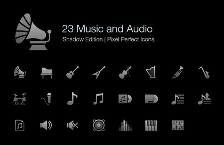 pixel perfect: Music and Audio Pixel Perfect Icons Shadow Edition Illustration