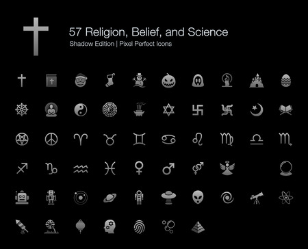 Religions Belief Science Pixel Perfect Icons Shadow Edition