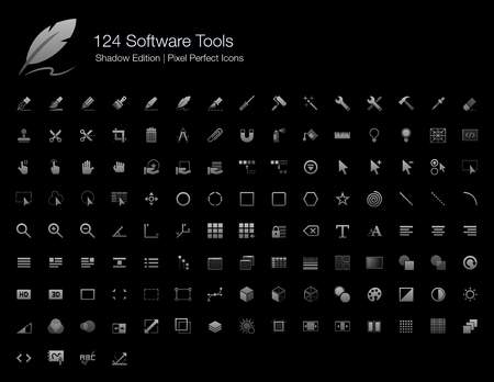 Software Tools and User Interfaces Pixel Perfect Icons Shadow Edition Illustration