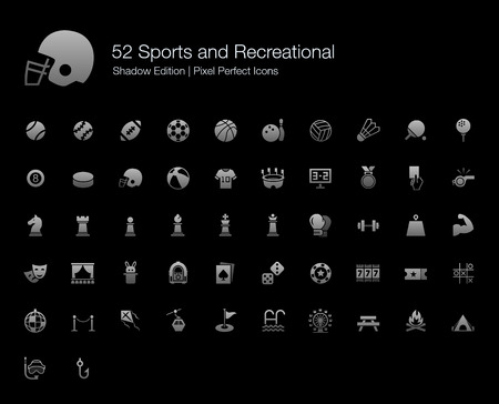 recreational sports: Sports and Recreational Pixel Perfect Icons Shadow Edition