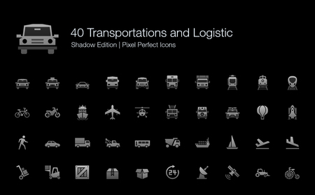 Transportation and Logistic Pixel Perfect Icons Shadow Edition Illustration