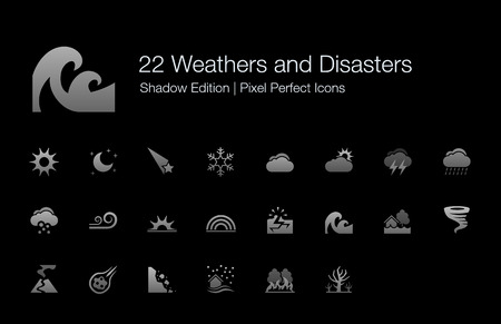Weathers and Disasters Pixel Perfect Icons Shadow Edition Illustration