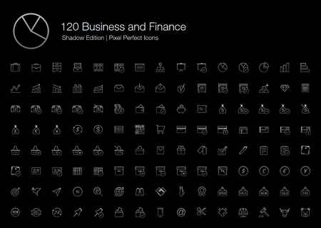 finance icons: Business Finance Chart Graph Office Pixel Perfect Icons (line style) Shadow Edition