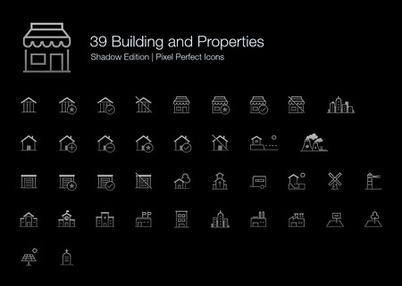 Building and Properties Pixel Perfect Icons (line style) Shadow Edition
