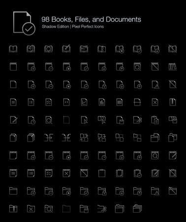 Books Files and Documents Pixel Perfect Icons (line style) Shadow Edition Illustration
