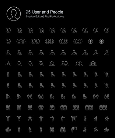 User and People Pixel Perfect Icons (line style) Shadow Edition