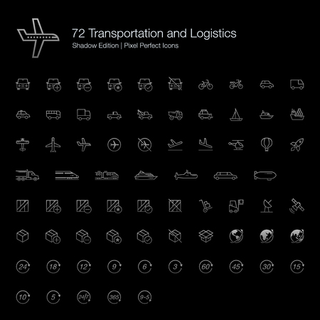 Transportation and Logistics Pixel Perfect Icons (line style) Shadow Edition