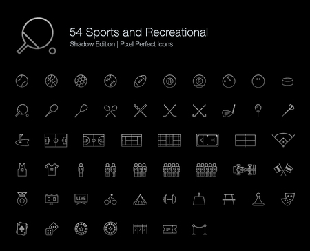 recreational sports: Sports and Recreational Pixel Perfect Icons (line style) Shadow Edition