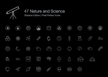 Nature and Science Pixel Perfect Icons (line style) Shadow Edition