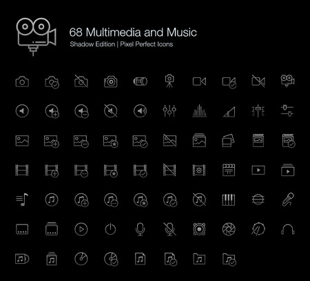 multimedia icons: Multimedia and Music Pixel Perfect Icons (line style) Shadow Edition Illustration