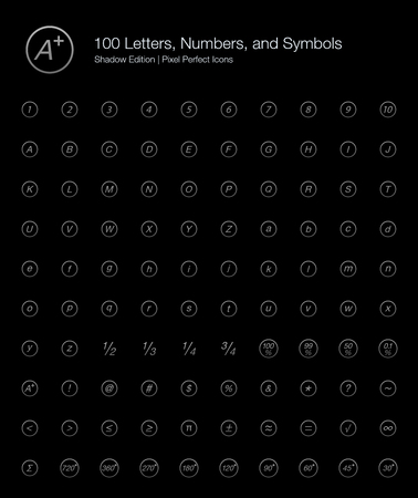 99: Letters Numbers Alphabet Pixel Perfect Icons (line style) Shadow Edition Illustration