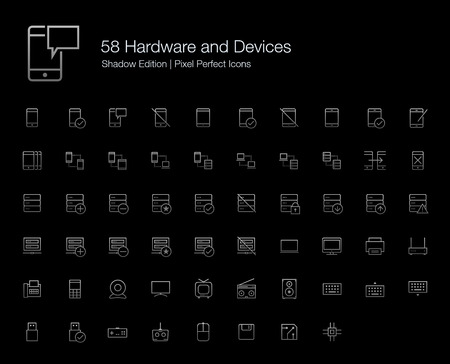 pixel perfect: Hardware Mobile Phone Computer Devices Pixel Perfect Icons (line style) Shadow Edition