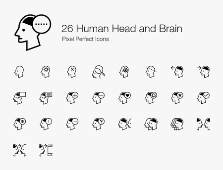 26 Human Head and Brain Pixel Perfect Icons (Line Style). Vector icon set of person mind, mental, thinking, interaction, and actions.