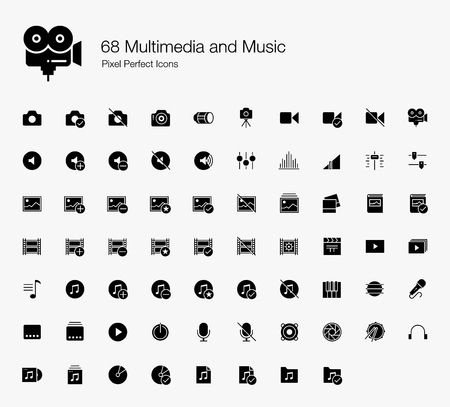 68 Multimedia and Music Pixel Perfect Icons (Filled Style). Vector icons of camera, audio, photo, video, and musics.  イラスト・ベクター素材