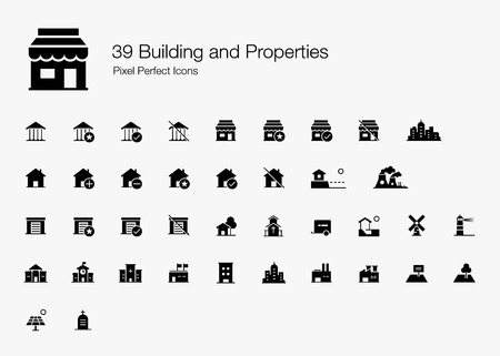 39 Building and Properties Pixel Perfect Icons (Filled Style). Vector building icons of house, shop, factory, school, government, garage, hospital, land, and more. Standard-Bild - 122282363