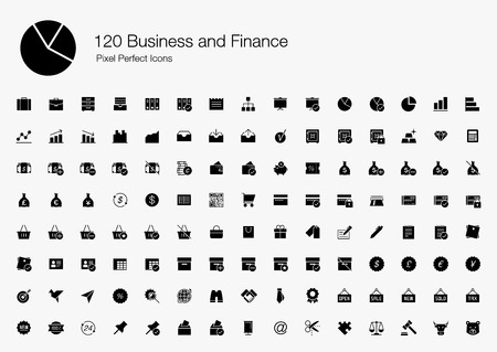 120 Business and Finance Pixel Perfect Icons (Filled Style). Vector icons set of business, office, financial, commercial, and analytic.